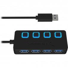 Concentrador USB, Sabrent, HB-UM43, USB 3.0, 4 puertos, Negro, Hub
