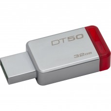 Memoria USB 3.0, Kingston, DT50/32GB, 32 GB, Rojo, Datatraveler