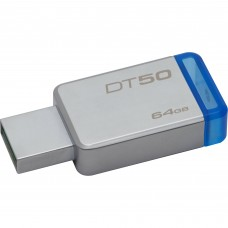 Memoria USB 3.0, Kingston, DT50/64GB, 64 GB, Azul, Datrataveler