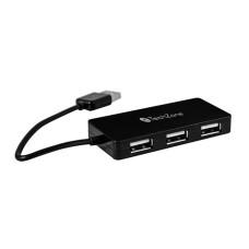GINGA - Concentrador USB, TechZone, TZ17HUB02, USB 2.0, 4 puertos, Negro, Hub