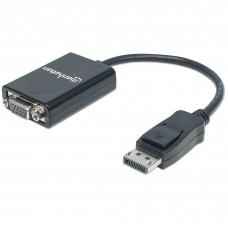 MANHATTAN - Adaptador de video, Manhattan, 151962, 1080p,  DisplayPort Macho a VGA Hembra, Negro