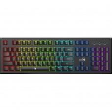 Teclado, Genius, 31310003401, Gamer, Iluminación RGB, USB, Negro, Alambrico