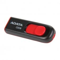 Memoria USB 2.0, Adata, AC008-16G-RPU, 16 GB, Negro y Rojo