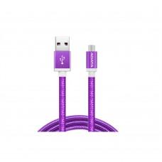 ADATA - Cable USB 2.0, Adata, AMUCAL-100CMK-CPU, Micro USB, USB, 1 m, 2.4 A, Morado, Puerto Reversible