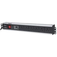 INTELLINET - Barra multicontactos, Intellinet, 713979, 6 salidas, rack, 1.5 U, 19 Pulgadas, Enchufes Tipo EU (NEMA 5), Negro-Plata