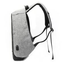 Mochila antirrobo, TechZone, TZ18LBP02, Con cierres ocultos y puerto de carga USB, Gris – Negro