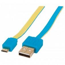 MANHATTAN - Cable USB, Manhattan, 391436, 1m, Plano, Azul, Amarillo