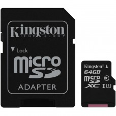Memoria Micro SD, Kingston, SDCS/64GB, UHS-I U1, 64 GB, Clase 10, Incluye Adaptador SD, canvas Select 64 GB