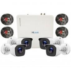 HILOOK - Kit Camara de vigilancia Hikvision Hilook, KIT7204BP, 1 DVR de 4 canales (DVR-104G-F1), 4 cámaras tipo bala (THC-B110-P)