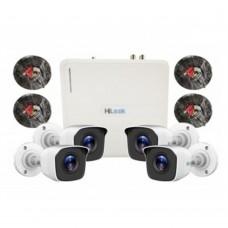 HILOOK - Kit Camara de vigilancia Hikvision Hilook, KIT7204BM, 1 DVR de 4 canales, 4 cámaras tipo bala con ir hasta 20m, lente fijo, 720p, Blanco