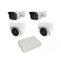Kit Camara de vigilancia, Hikvision, Hilook, KIT7202BD, DVR de 4 canales, 2 cámaras bala, 2 cámaras domo, Blanco
