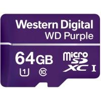 Memoria MicroSDXC, Western Digital, WDD064G1P0A, 64 GB, Clase 10, Purple Label, Videovigilancia