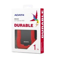 Disco Duro Externo, Adata, AHD330-1TU31-CRD, HD330, 1 TB, USB 3.1, Slim, Rojo