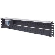 INTELLINET - Barra multicontactos PDU, Intellinet, 714075, Para montaje en 2U, 15 Salidas, Rack de 19 Pulgadas, Enchufes Tipo EU, Negro - Plata