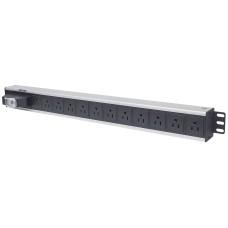 Barra multicontactos PDU, Intellinet, 713955, 12 Salidas, Contactos tipo NEMA, Negro - Plata
