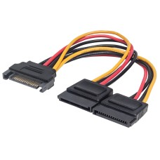 Cable Adaptador, Manhattan, 354554, SATA (M) a 2 x SATA (H), 15 cm