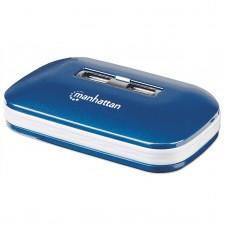 MANHATTAN - Concentrador USB 2.0, Manhattan, 161039, HUB, 7 puertos, Alimentación Dual, Azul