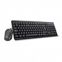 Teclado y Mouse, TechZone, TZ19COMB01-LA, Alámbrico, USB, Negro
