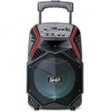 GHIA - Bocina Amplificada, GHIA, GSP-08BR, LED, Lector de Memorias Micro SD, USB, Bluetooth, Negro/Rojo