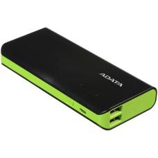 ADATA - Batería Portátil, Adata, APT100-10000M-CBKGR, Power Bank, 10000 mAh, Linterna LED, USB, Negro/Verde