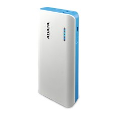 ADATA - Batería Portátil, Adata, APT100-10000M-CWHBL, Power Bank, 10000 mAh, USB, Blanco/Azul