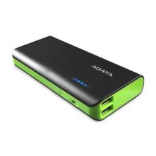 Batería Portatil, Adata, APT100-10000M-5V-CBKGR, Verde y Negro, Power Bank, 10000 mAh, 2 Puertos USB, 1 A, 2 A, Linterna, Negro
