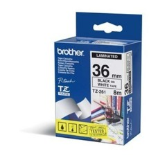 BROTHER - Cinta de Impresión, Brother, TZE261, Negro sobre Blanco, 36 mm