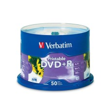 DVD+R, Verbatim, 95136, 4.7 GB, 16X, 120 Min, Imprimible, Blanco, 50 Discos