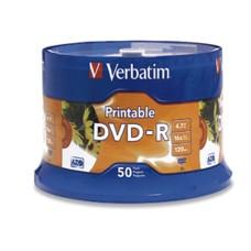 DVD-R, Verbatim, 95137, 4.7 GB, 16X, 120 Min, Blanco, Imprimible, 50 Discos