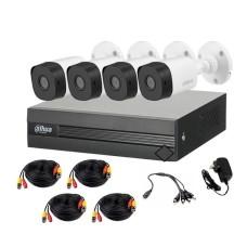 DAHUA - Paquete de Camara de Vigilancia con DVR, Dahua, XVR1B04KITII, 4 cámaras tipo bala, Blanco, DVR, 1U DH-XVR1B04, 4 canales, IR hasta 20m, Negro