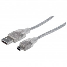 MANHATTAN - Cable USB, Manhattan, 333412, Mini USB Macho a USB Tipo A Macho, 1.8 m, Plata