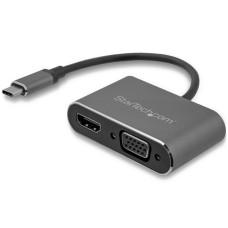 Adaptador de Video, Startech, CDP2HDVGA, USB-C a VGA y HDMI, 4K, 30Hz, Gris