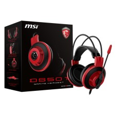 MSI - Audífonos con Micrófono, MSI, DS501 GAMING HEADSET, 3.5 mm, 2.1m, Gamer, Rojo, Negro