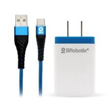 BROBOTIX - Cargador, Brobotix, 963332, Cable USB A a USB C, Carga Rápida, 1 m, Azul, Blanco