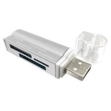 Lector de Memorias, Brobotix, 180420P, MicroSD, SD, MS DI, Micro MS, USB 2.0, Plateado
