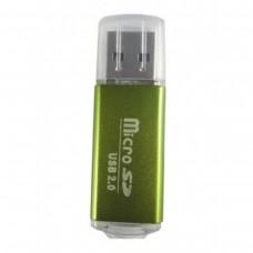 Lector de Memorias, Brobotix, 345673V, MicroSD a USB 2.0, Verde