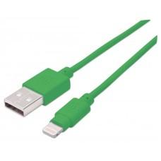 Cable de Datos, Manhattan, 394215, Lightning a USB-A, Verde, 1 m