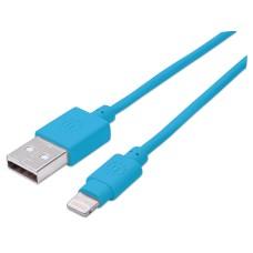Cable de Datos, Manhattan, 391467, Lightning a USB-A, Azul, 1 m
