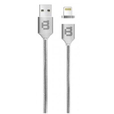 BLACKPCS - Cable de Datos, Blackpcs, CASLTM-2, USB A, Lightning, 1m, 2.1A, Magnético, Plateado