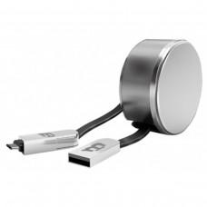 BLACKPCS - Cable de Datos, Blackpcs, CASMCPR-3, USB A, USB C, Micro USB B, 1m, 2.1A, Retráctil, Plástico, Plateado