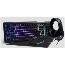 VORAGO - Teclado y Mouse, Vorago, KMH-501, Mousepad con Luz, Headset