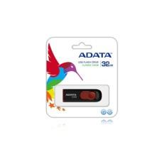Memoria USB 2.0, Adata, AC008-32G-RKD, 32GB, Retráctil, Negro-Rojo