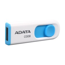 Memoria USB 2.0, Adata, AC008-32G-RWE, 32GB, Retráctil, Blanco-Azul