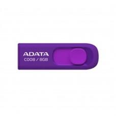 Memoria USB 2.0, Adata, AC008-8G-RPU, 8GB, Retractil, Morado