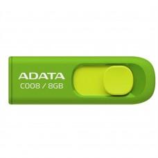Memoria USB 2.0, Adata, AC008-8G-RGN, 8GB, Retractil, Verde