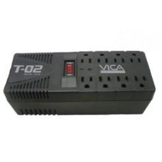 Regulador de Voltaje, Vica, T-02, 1200 VA, 700 W, 8 contactos, Protector de línea telefónica
