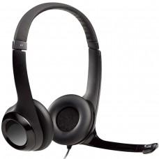 Audífonos con Micrófono, Logitech, H390, Diadema, Supresor de Ruido, USB, Negro