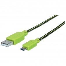 Cable USB 2.0, Manhattan, 352772, Micro USB, 1 m, Negro, Verde