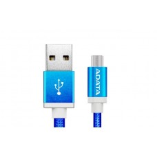 Cable USB 2.0, Adata, AMUCAL-100CMK-CB, Micro USB, USB, 1 m, 2.4 A, Azul, Puerto Reversible