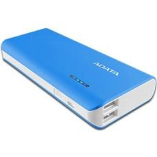 Batería Portatil, Adata, APT100-10000M-5V-CBLWH, Azul, Power Bank, 10000 mAh, 2 Puertos USB, 1 A, 2 A, Linterna